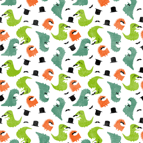 DINOSIRS - Gentleman Dinosaurs fabric by lusyspoon on Spoonflower - custom fabric