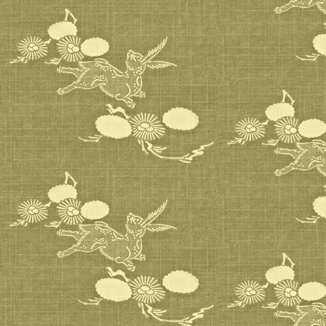 Woodland Hare - sage grass green & cream