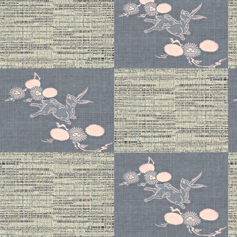 woodland_hare_slate_and_gray_check fabric by materialsgirl on Spoonflower - custom fabric