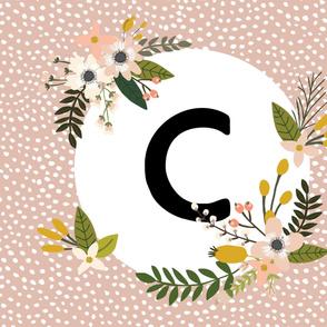 Blush Sprigs and Blooms Monogram Blanket // C