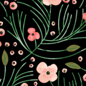 winter floral // pine on black // oversized