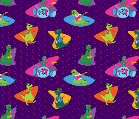 ROCK n RAWR - Purple fabric by girlfighter on Spoonflower - custom fabric