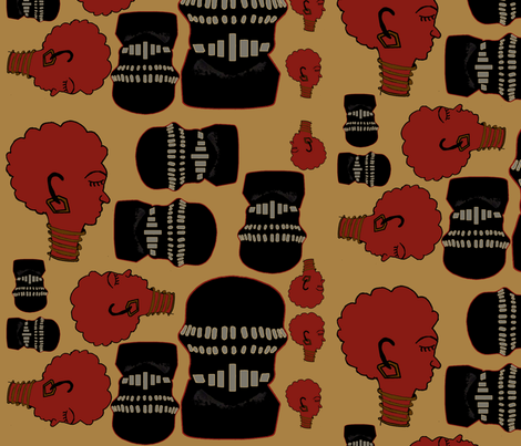 afro vader cameos fabric by nalo_hopkinson on Spoonflower - custom fabric