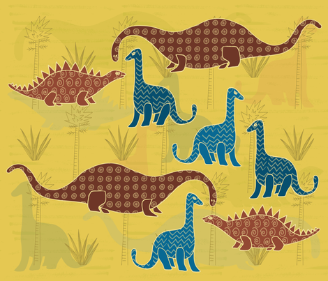 Dino Trees (1) fabric by tasha_goddard_designs on Spoonflower - custom fabric