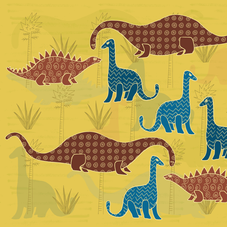 Dino Trees (1) fabric by tasha_goddard_designs on Spoonflower - custom fabric