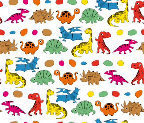 DINO PARADE fabric by vannina on Spoonflower - custom fabric