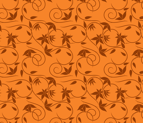 brown swirly flowers on orange fabric by suziedesign on Spoonflower - custom fabric