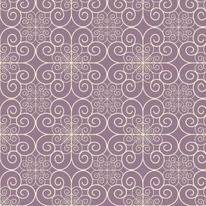 white swirls on purple