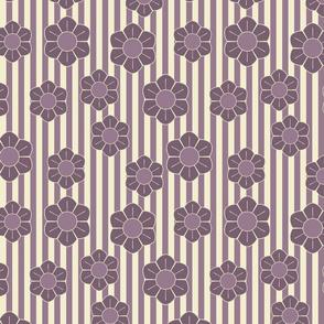 Purple flowers on stripes