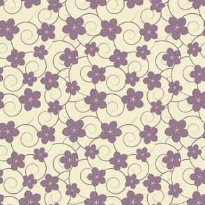 Purple flowers and swirls