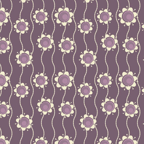 retro purple flowers and pearls