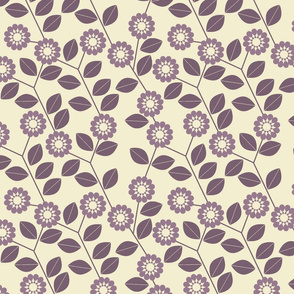 retro purple flowers