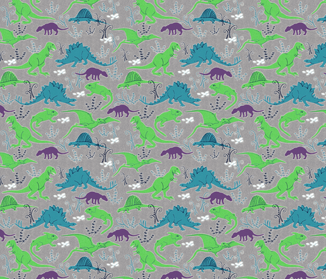 Dinosaurs 3 blue green gray fabric vinpauld spoonflower for Grey dinosaur fabric