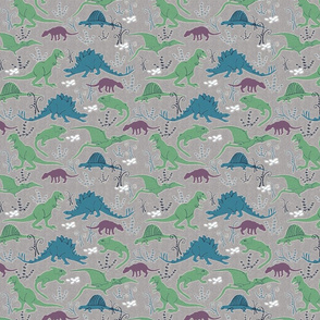 Dinosaurs 3 blue green gray