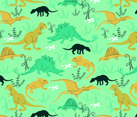 Dinosaurs 5 Green and Mustard