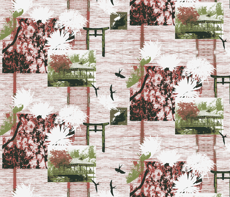 Brookside Garden Japanese Teahouse fabric by bloomingwyldeiris on Spoonflower - custom fabric