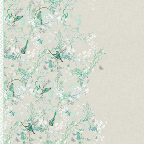 Birds + Blossoms Border Print (mint)