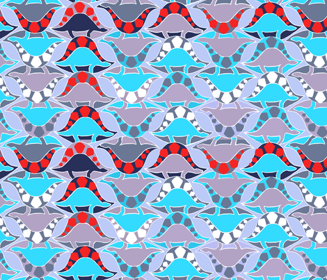 Blue dinosaurs fabric by mezzones on Spoonflower - custom fabric