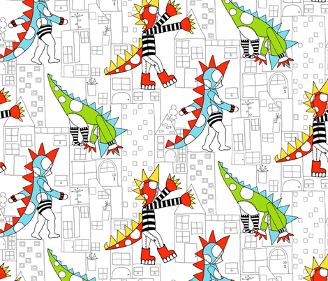 Boy-annosaurus Rex fabric by raebekah on Spoonflower - custom fabric