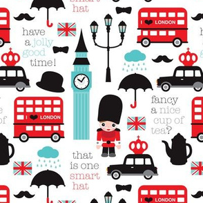 Crazy for London double decker tea big ben and travel icon design