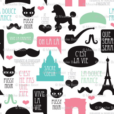 Paris poodle oh la la french romantic travel icon design for paris lovers