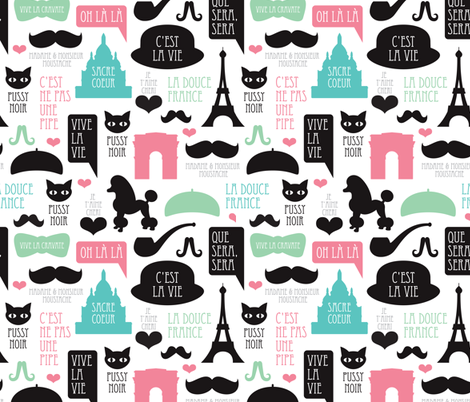 Paris poodle oh la la french romantic travel icon design for paris lovers fabric by littlesmilemakers on Spoonflower - custom fabric