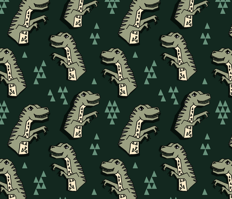 Dinosaur - Rifle Green/Artichoke/Viridian fabric by andrea_lauren on Spoonflower - custom fabric