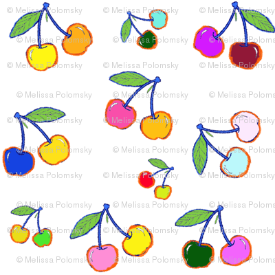 Crayon Cherries in Bright Multicolor