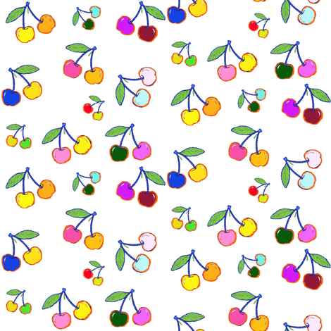 Crayon Cherries in Bright Multicolor fabric by theartwerks on Spoonflower - custom fabric