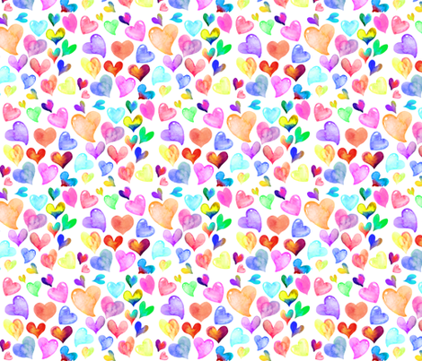 Colorful Watercolor Ditzy Hearts // white