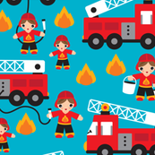 Fire to the rescue fighters fire truck boys car fabric