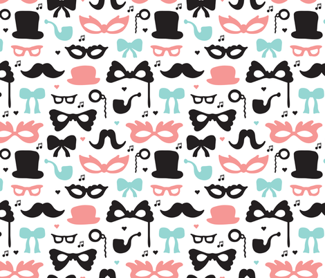 Theater mustache hipster geek great gatsby theme fabric by littlesmilemakers on Spoonflower - custom fabric