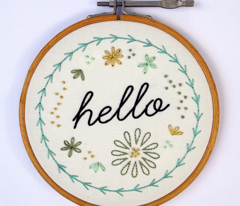 hello embroidery pattern