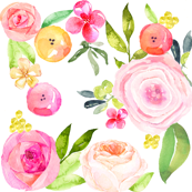 Spring Peonies, Roses, and Poppies Watercolor Print // LARGE