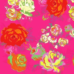 Vintage Floral on Hot Pink with cream, yellow, red, and orange.