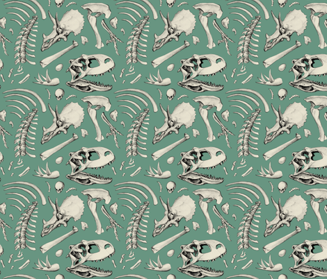 dino bones - sage fabric by estrojenn on Spoonflower - custom fabric