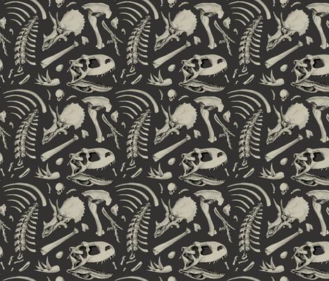 dino bones - dark grey fabric by estrojenn on Spoonflower - custom fabric