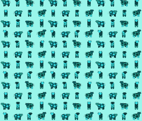 aqua cows fabric by engelbam on Spoonflower - custom fabric