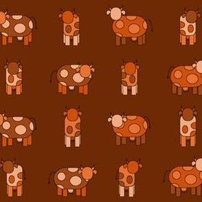 dark orange cows