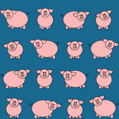 Pink pigs in the blue