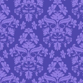 Morning Damask with Bumble Bees in blue