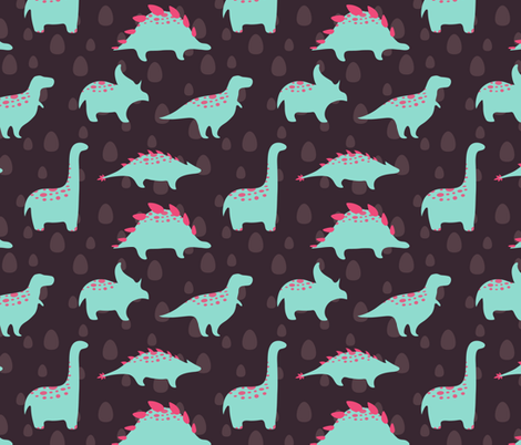 Dinosaurs pattern fabric by lenivec on Spoonflower - custom fabric