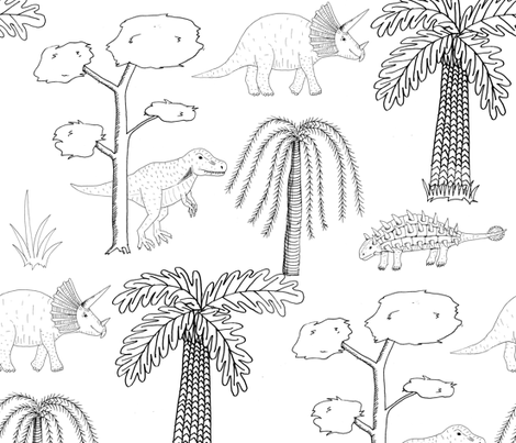 Dinosaur forest fabric by celebrindal on Spoonflower - custom fabric