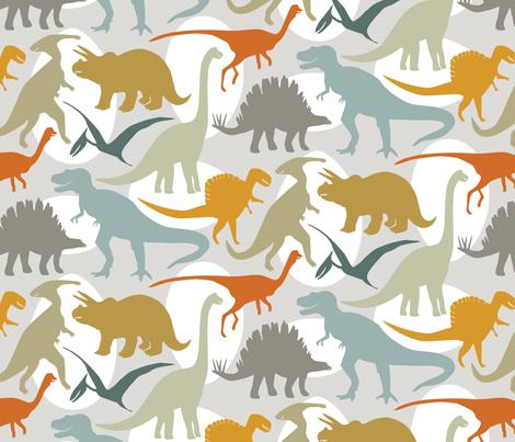 Big Dinos with Eggs fabric by jillbyers on Spoonflower - custom fabric