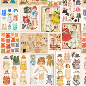 """Paper Dolls/ Ephemera"" in Multi on Eggshell White"