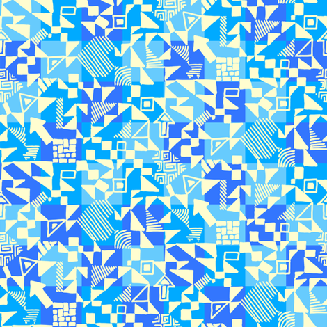 Small-abstract-geometrics-cream-on-blue-check fabric by ladykerry on Spoonflower - custom fabric