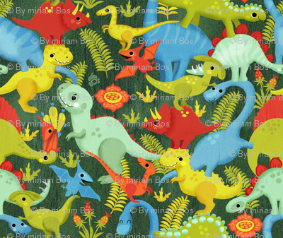 A pile of dinosaurs - in green