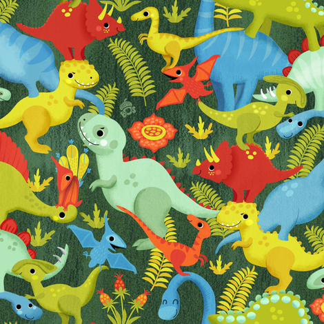 A pile of dinosaurs - in green fabric by irrimiri on Spoonflower - custom fabric