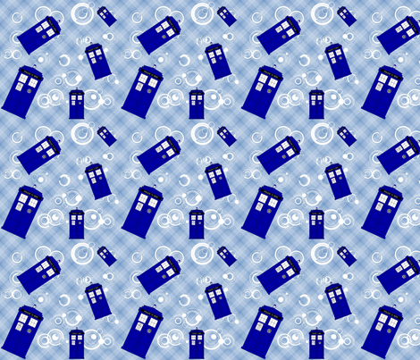 Police Box Blue Plaid 11-900 fabric by lilbabythangs on Spoonflower - custom fabric