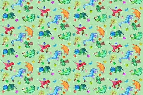 Dotty Little Dinos fabric by hsarik on Spoonflower - custom fabric